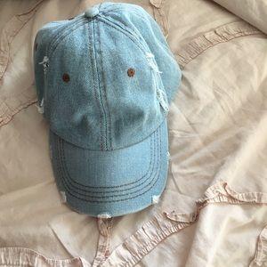 Accessories - Distressed Ripped Light wash Denim Baseball Hat 3a0d5f87423